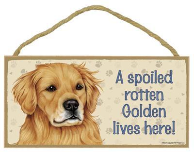 A Spoiled Rotten Golden Retriever Lives Here Wood Sign