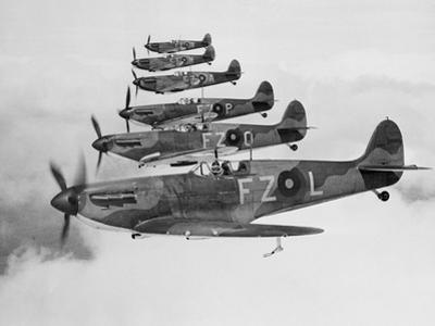 A Squadron of British Supermarine Spitfire Fighters