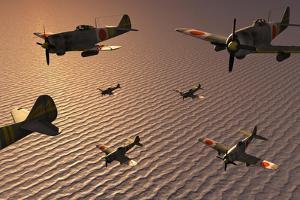 A Squadron of Japanese Nakajima Torpedo Bombers in Flight