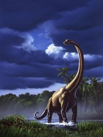 A Startled Brachiosaurus Splashes Through a Swamp Against a Stormy Sky