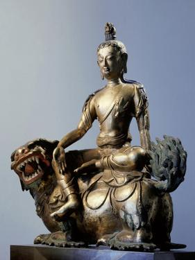 A Statue of Simhanada, Voice of a Lion, Sitting on the Back of a Roaring Lion