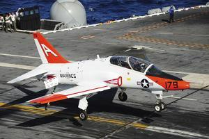 A T-45C Goshawk Lands on the Flight Deck of USS Theodore Roosevelt