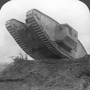 A Tank Breaking Through the Wire at Cambrai, France, World War I, C1917-C1918