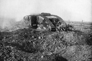 A Tank in Action on the Western Front, Somme, France, First World War, 1914-1918