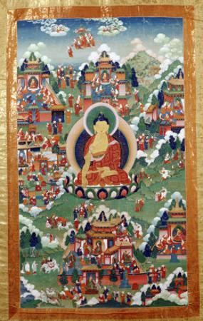 A Tibetan Thang.ka, Buddha Shakyamuni Surrounded by Many Scenes from His Previous Lives, 18th C