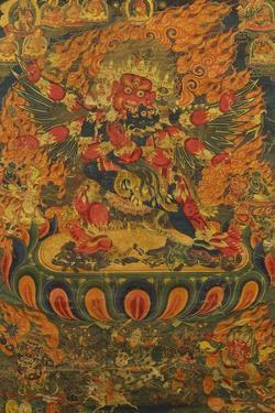 A Tibetan Thanka with a Central Figure of Heruka