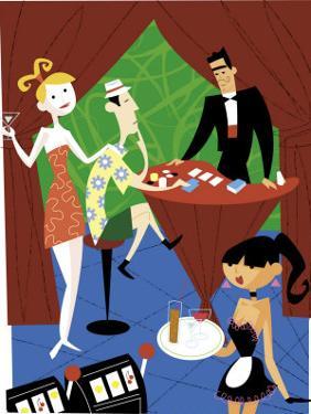 A Tourist Playing Blackjack at a Casino