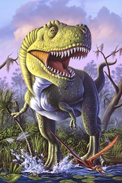 A Tyrannosaurus Rex Crashes Through a Swamp