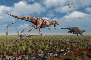 A Tyrannosaurus Rex Giving Chase to an Ankylosaurus