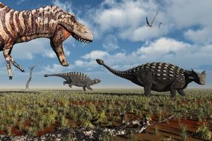A Tyrannosaurus Rex Hunting Down a Pair of Ankylosaurus Dinosaurs