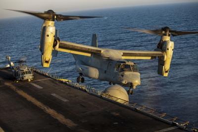 A U.S. Marine Corps MV-22B Osprey Lands on USS Kearsarge