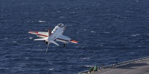 A U.S. Navy T-45C Goshawk Performs a Touch-And-Go Landing