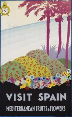 Visit Spain - Mediterranean Fruits and Flowers Travel Poster by A. Vercher