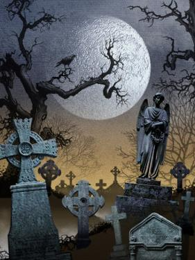 A View of a Spooky Graveyard