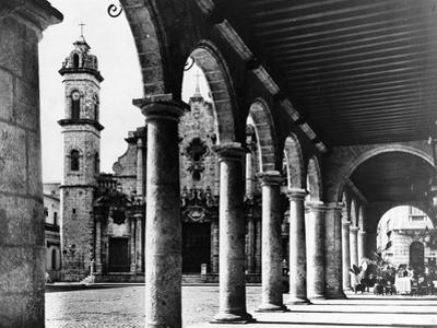 A View of Havana's Old Cathedral Plaza Is Framed by the Magnificent Arches of an Adjoining Building