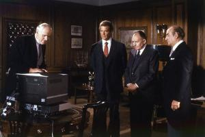 A VIEW TO A KILL, 1985 directed by JOHN GLEN with Desmond Llewelyn, Roger Moore, Geoffrey Keen and