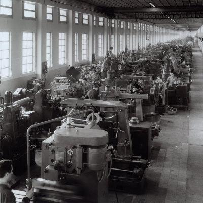 Ferrari Factory, Large Room with Machines and Workers