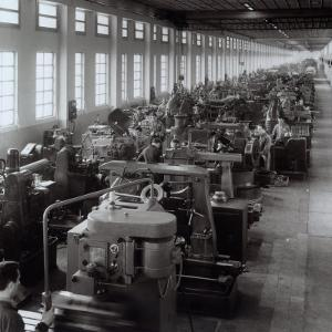 Ferrari Factory, Large Room with Machines and Workers by A. Villani