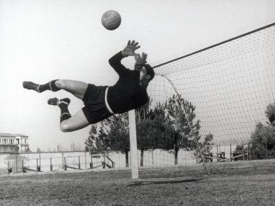 Goalkeeper Diving to Make a Save