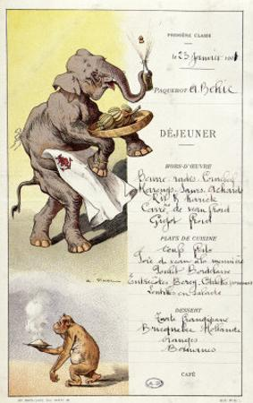 First Class Menu from the Liner L'Armand Behic, 23rd January 1901