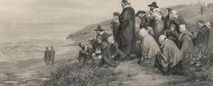 The Pilgrim Fathers Watch the Mayflower Sail Home to England by A.w. Bayers