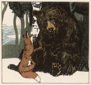 Scene from the Story Showing a Fox in Conversation with the Bear by A Weisgerber