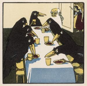 The Seven Ravens at the Dinner Table by A Weisgerber