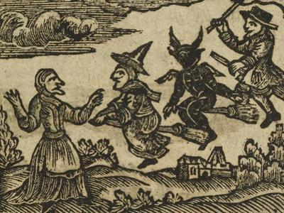 A Witch and Demon Flying On Broomsticks. There Is Also a Servant and Gentleman Depicted