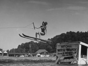 A Woman Competing in the National Water Skiing Championship Tournament