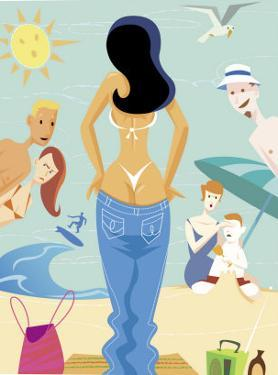 A Woman Exposing Her Thong Bikini on a Beach