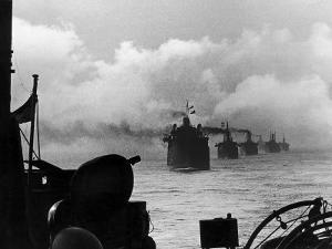 A WW2 Convoy of Steam Supply Ships Sailing Along the English Coast, 1942