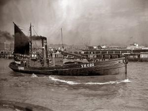 A Yarmouth Herring Boat Leaves the Mouth of the River Yar Norfolk, 1935