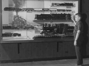 A Young Boy Standing in Front of a Display of Miniature Locomotives
