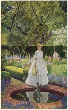 A Young Victorian Woman in an Idyllic Garden