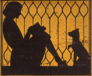 A Young Woman Sits with Her Dog, Reading a Book