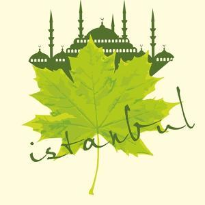 Istanbul City and Sycamore Leaf Vector Art by a1vector