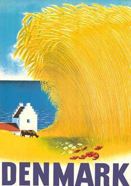 Denmark - Wheat Field and Danish Farm House by Aage Rasmussen