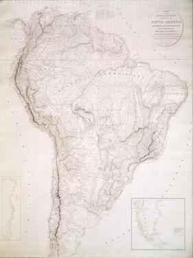 Outlines of the Physical and Political Divisions of South America, 1810 by Aaron Arrowsmith