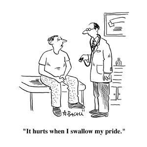 """""""It hurts when I swallow my pride."""" - Cartoon by Aaron Bacall"""
