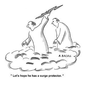 """""""Let's hope he has a surge protector."""" - Cartoon by Aaron Bacall"""