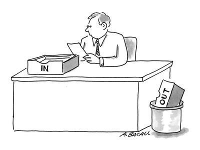 Man sitting at desk with 'In' box on desk and 'Out' box in trash. - Cartoon