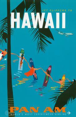 Jet Clippers to Hawaii - Pan American Airlines (PAA) - Hawaiian Surfers Linking Hands by Aaron Fine