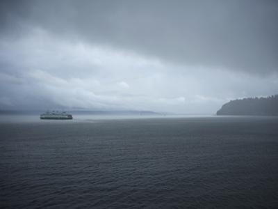 A Ferry Boat Moves Through Stormy Weather From Vashon Island to West Seattle. Washington State, USA