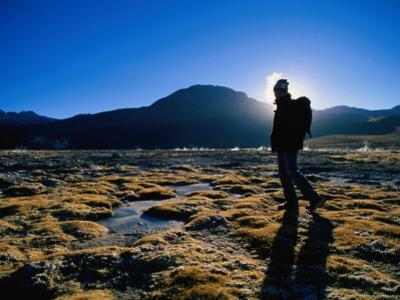 Hiker in Silhouette Near San Pedro De Atacama, San Pedro De Atacama, Chile