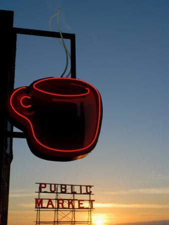 Neon Sign for Coffee, Post Alley, Seattle, Washington State, USA