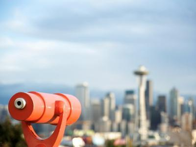 Telescope with View of Seattle Skyline in Distance, Kerry Park, Seattle, Washington State, USA