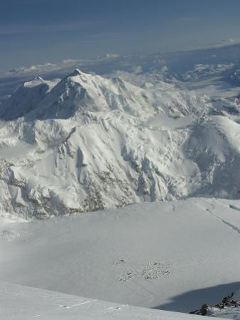 View of 14000 Ft Camp with Mount Hunter in Distance, Denali National Park, Alaska