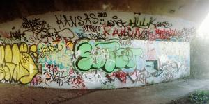 Abandoned Underpass Wall Covered with Graffiti at Fort Tilden Beach, Queens, New York City