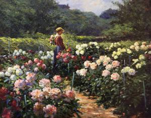 Woman in a Garden of Peonies by Abbott Fuller Graves