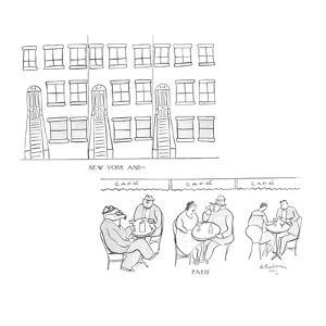 New York and—  Paris - New Yorker Cartoon by Abe Birnbaum